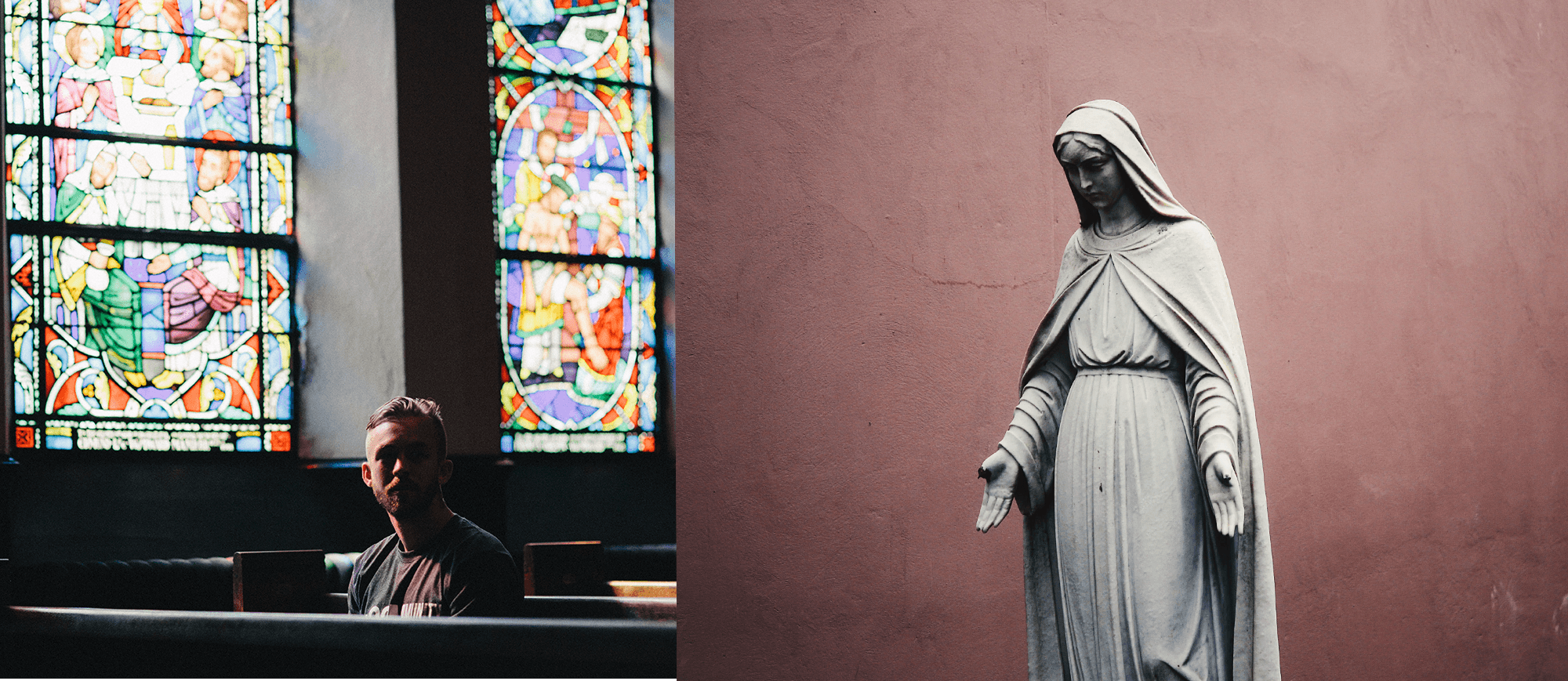 Man praying next to a statue of Mary