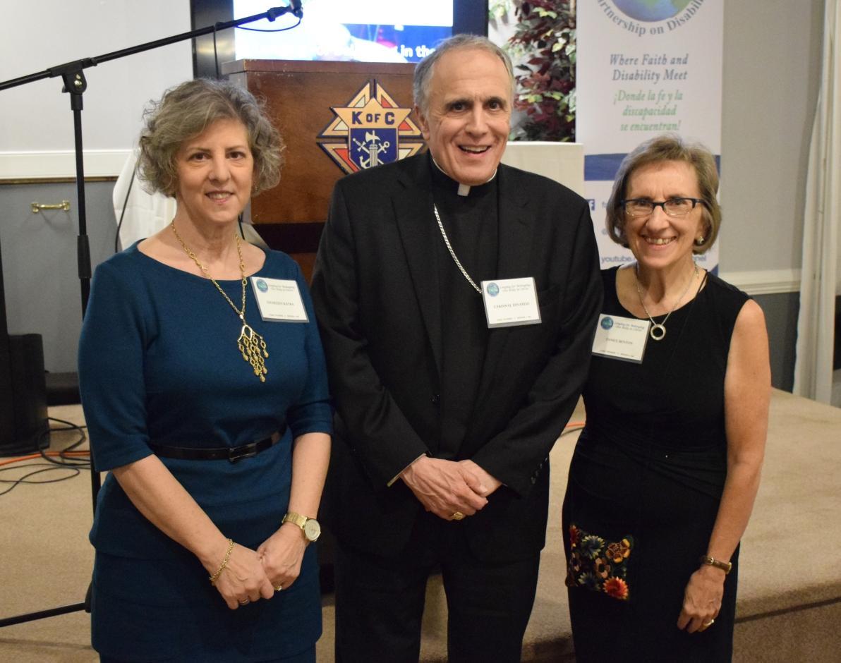 Cardinal DiNardo, Charleen, and Janice Benton