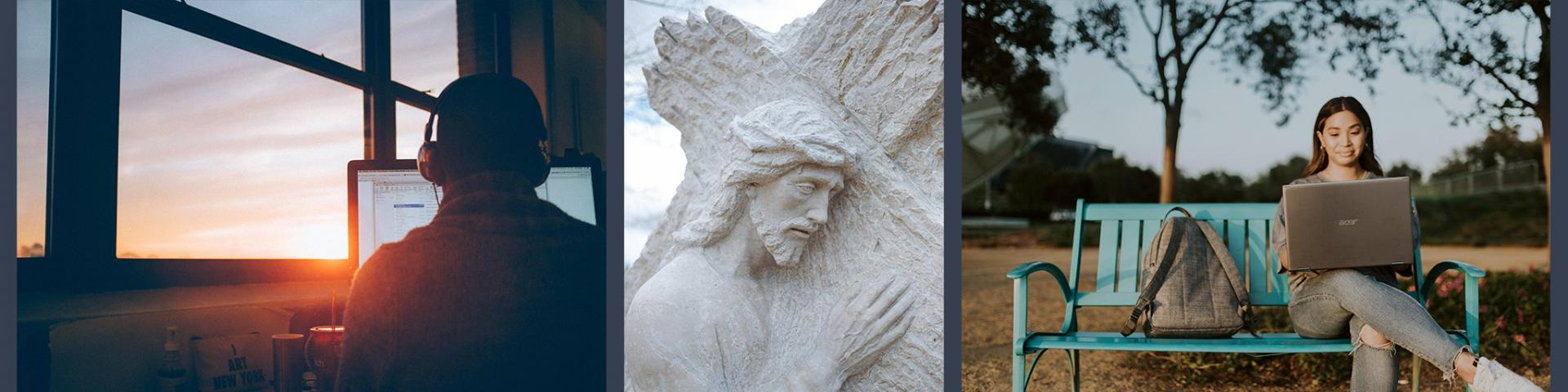 Two people looking at computer, picture of Jesus carrying a cross