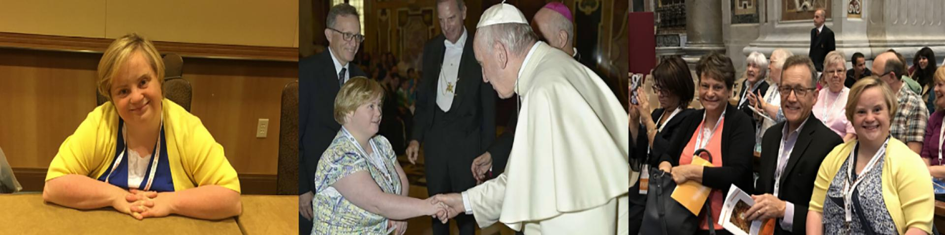 Bridget Brown with Pope Francis