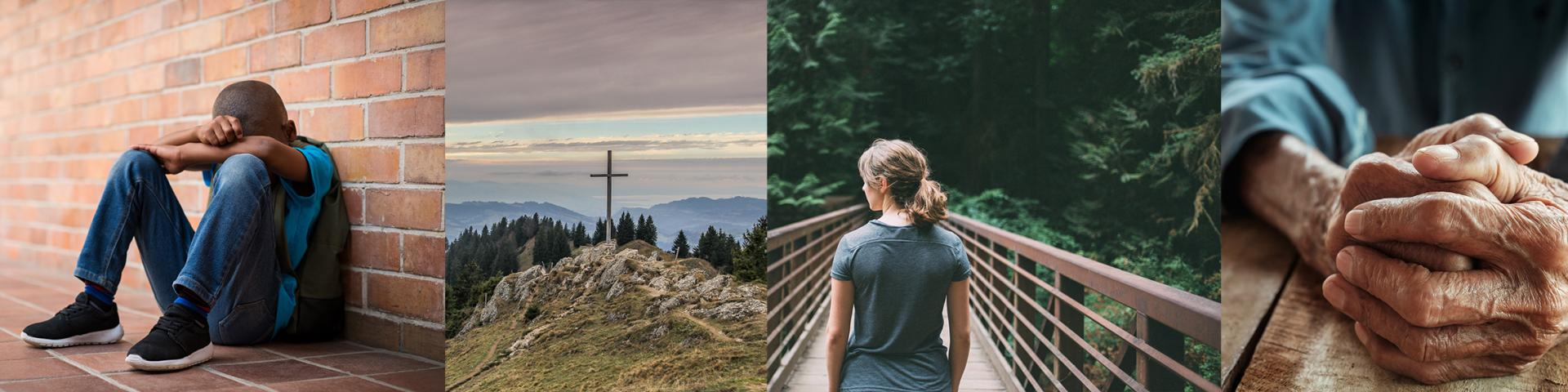 4 pictures: Young boy, woman, elderly person, and a cross.