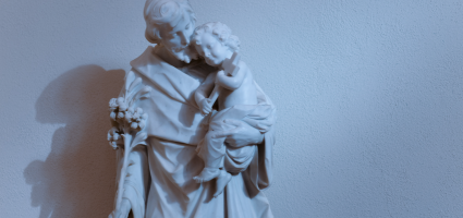 Saint Joseph embracing Mary and the infant Jesus