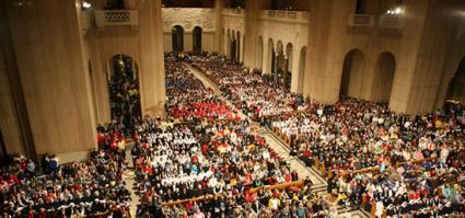 Aerial view of the Basillica of the Shrine of the Immaculate Conception during the March for Life Vigil Mass