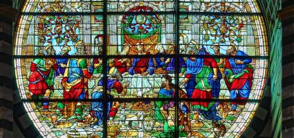 "Stained glass window of ""The Last Supper"""