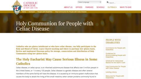 Snapshot of Diocese of Salt Lake City webpage