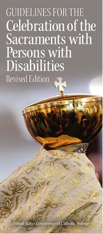 Picture of Sacramental Guidelines booklet.A person holding a golden chalice with the title of the sacramental guidelines above.