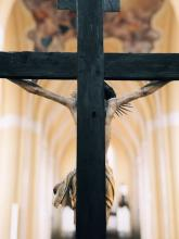 The back of a cross on an altar