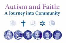 Text: Autism and Faith with religious symbols below